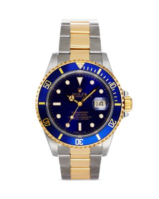 PRE-OWNED ROLEX STAINLESS STEEL AND 18K YELLOW GOLD TWO TONE SUBMARINER WATCH WITH BLUE DIAL, 40MM