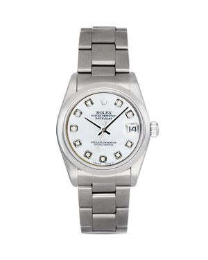 Pre-Owned Rolex Stainless Steel Mid-Size Datejust Watch with White Mother-of-Pearl Dial and Diamonds