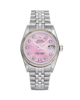 PRE-OWNED ROLEX STAINLESS STEEL AND 18K WHITE GOLD DATEJUST WATCH WITH PINK MOTHER-OF-PEARL AND DIAM