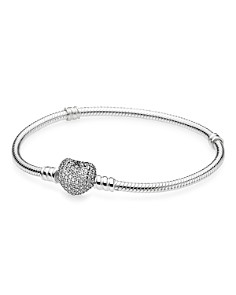 PANDORA Moments Collection Sterling Silver & Cubic Zirconia Pavé Heart Bracelet - Bloomingdale's_0