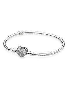 PANDORA -  Moments Collection Sterling Silver & Cubic Zirconia Pavé Heart Bracelet