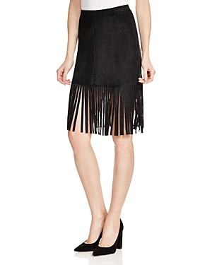 Aqua Faux Suede Fringe Mini Skirt - 100% Exclusive