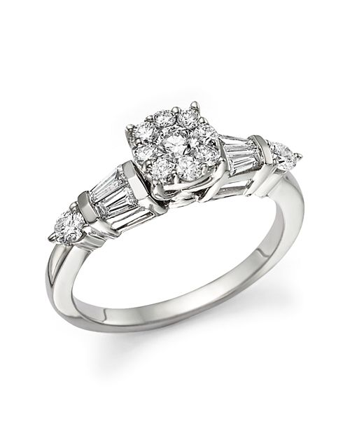 Bloomingdale's - Certified Diamond Cluster and Baguette Ring in 14K White Gold, .75 ct. t.w. - 100% Exclusive