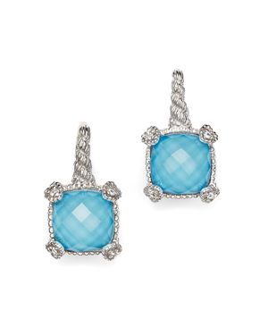 Judith Ripka Cushion Heart Prong Earrings with White Sapphire and Turquoise Doublets 1638778