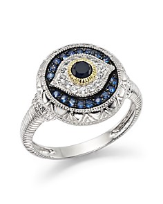 Judith Ripka - Evil Eye Ring with White, Black and Blue Sapphire