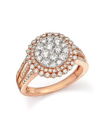 Bloomingdale's - Diamond Double Halo Cluster Ring in 14K Rose Gold, 1.40 ct. t.w. - 100% Exclusive