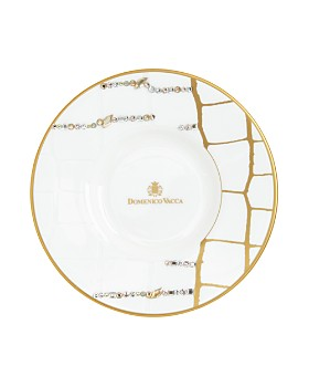 Domenico Vacca by Prouna - Alligator Gold Swarovski Crystal Espresso Cup & Saucer, Set of 2