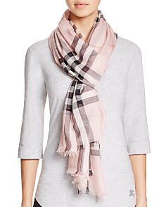 Burberry - Giant Check Wool & Silk Gauze Scarf