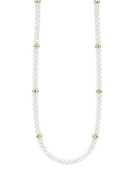 """LAGOS - White Caviar Ceramic and 18K Yellow Gold Rope Station Necklace, 16"""""""