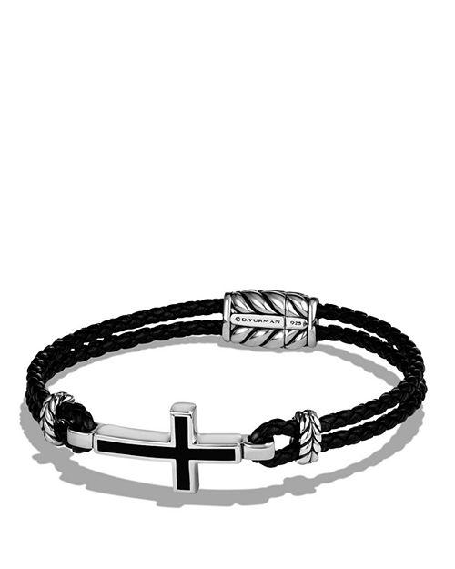 David Yurman - Exotic Stone Cross Station Leather Bracelet with Black Onyx