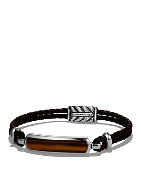 David Yurman - Exotic Stone Station Brown Leather Bracelet with Tigers Eye