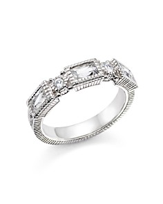 Judith Ripka - Sterling Silver Narrow Estate 3 Baguette Band with White Topaz and White Sapphire