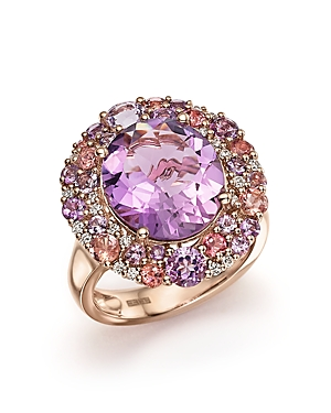Purple Amethyst, Pink Amethyst, Pink Tourmaline and Diamond Cocktail Ring in 14K Rose Gold - 100% Exclusive