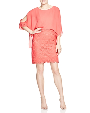 Adrianna Papell Cold-Shoulder Layered-Look Dress