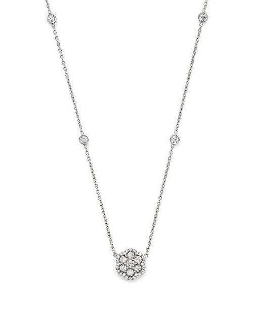 Bloomingdales diamond flower pendant necklace in 14k white gold bloomingdales diamond flower pendant necklace in 14k white gold 75 ct tw aloadofball Gallery