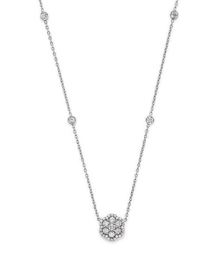 Bloomingdale's - Diamond Flower Pendant Necklace in 14K White Gold, .75 ct. t.w. - 100% Exclusive