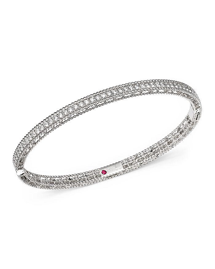 Roberto Coin - 18K White Gold Symphony Braided Bangle Bracelet with Diamonds
