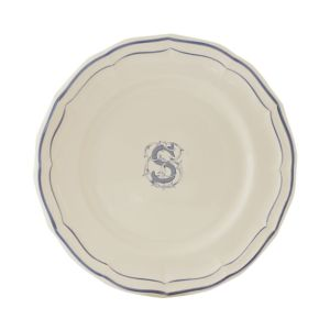 Gien France Monogram Filets Bleu Dinner Plate