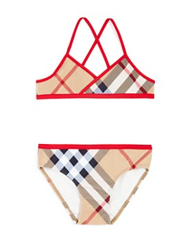 Burberry - Girls' Check Print 2-Piece Swimsuit - Little Kid, Big Kid