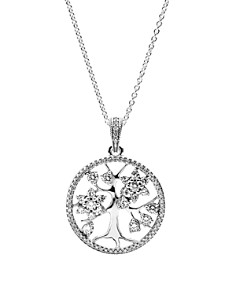 "PANDORA Sterling Silver & Cubic Zirconia Family Tree Necklace, 32"" - Bloomingdale's_0"