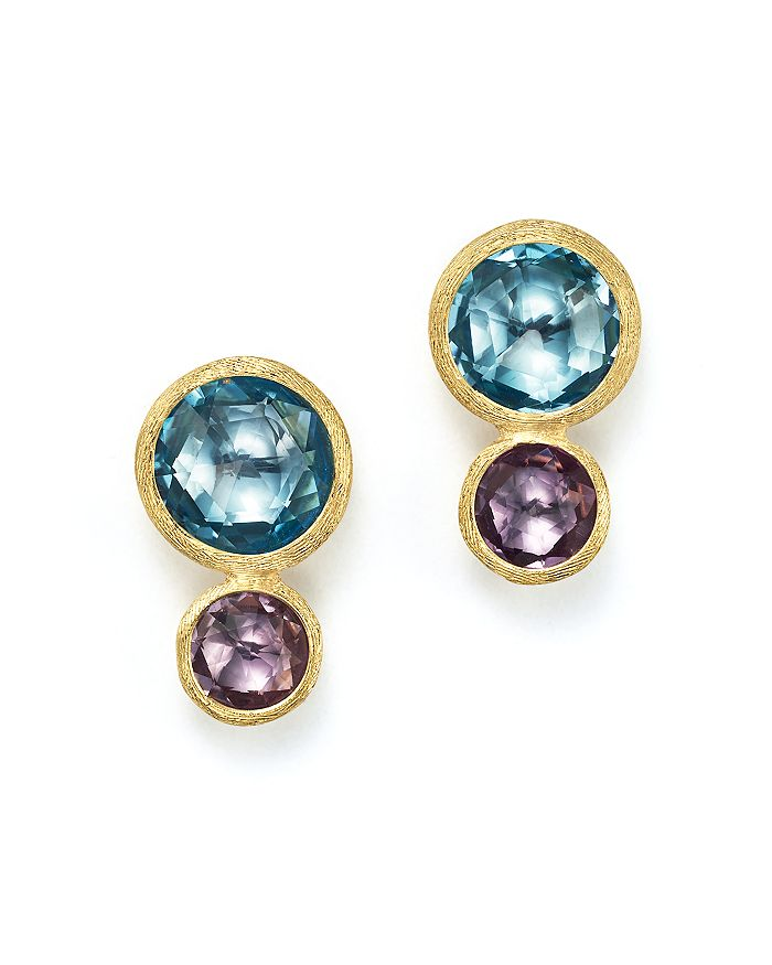 Marco Bicego - 18K Yellow Gold Jaipur Two Stone Earrings with Blue Topaz and Amethyst