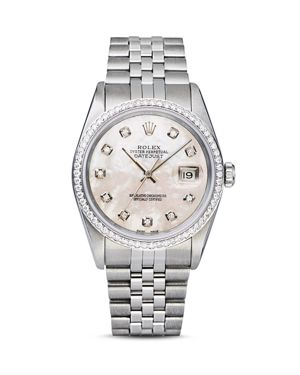 Pre-Owned Rolex Stainless Steel and 18K White Gold Datejust Watch with Mother-of-Pearl Dial and Diam