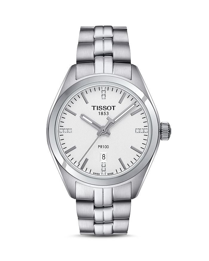 Tissot - PR 100 Stainless Steel Watch with Diamonds, 33mm
