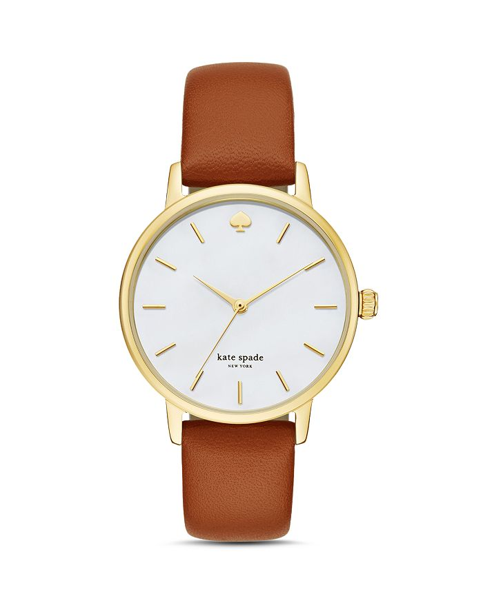 kate spade new york - Metro Leather Strap Watch, 34mm