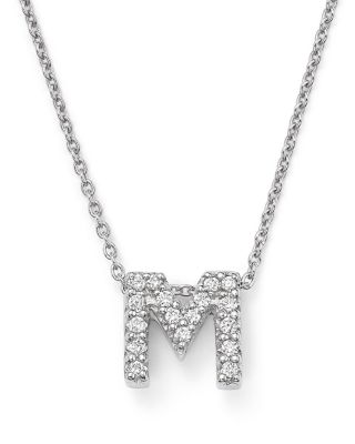 ROBERTO COIN 18K White Gold Initial Love Letter Pendant Necklace With Diamonds 16 M