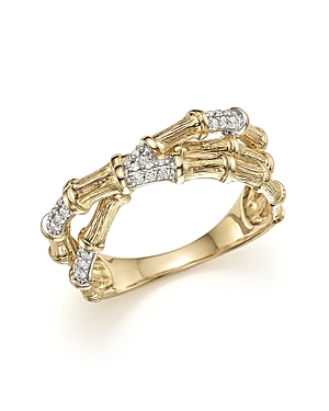 Diamond Bamboo Crossover Ring in 14K Yellow Gold, .20 ct. t.w. - 100% Exclusive