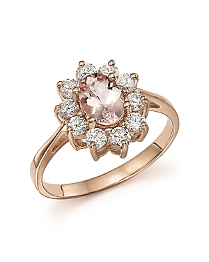 Morganite and Diamond Ring in 14K Rose Gold - 100% Exclusive