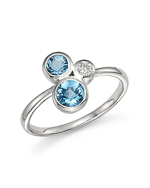 Blue Topaz and Diamond Three Stone Ring in 14K White Gold - 100% Exclusive