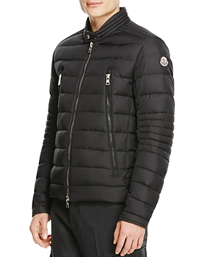 Moncler soups up its signature down jacket with edgy oversize zips, moto-inspired quilting and shiny hardware accents for a casual-cool look that\\\'s just your speed.