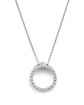 Roberto Coin - Roberto Coin 18K White Gold and Diamond Extra Small Circle Necklace, 16""