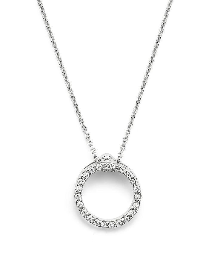 """Roberto Coin - Roberto Coin 18K White Gold and Diamond Extra Small Circle Necklace, 16"""""""