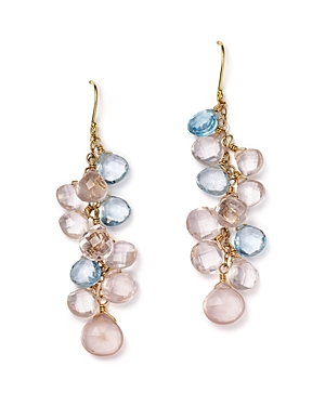 Rose Quartz and Blue Topaz Briolette Drop Earrings in 14K Yellow Gold - 100% Exclusive