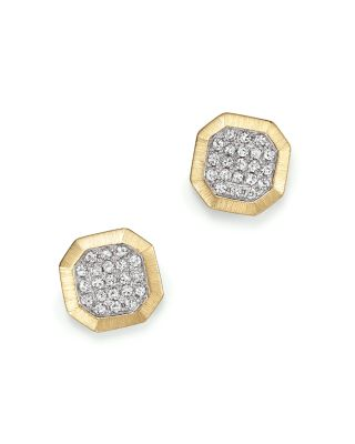 KC DESIGNS Diamond Pave Octagon Studs In 14K Yellow Gold, .20 Ct. T.W. in White/Gold