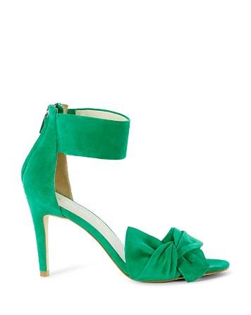 $KAREN MILLEN Suede Bow Ankle Cuff Sandals - Bloomingdale's