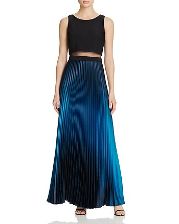 AQUA - Illusion Waist Pleated Gown - 100% Exclusive