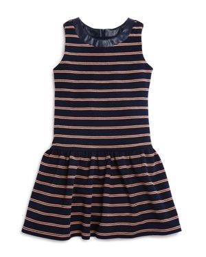 Elisa B Girls' Faux Leather Trimmed Striped Knit Dress - Big Kid