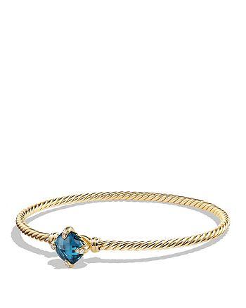 David Yurman - Châtelaine Bracelet with Hampton Blue Topaz and Diamonds in 18K Gold