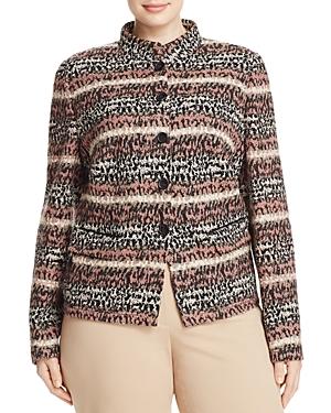 Basler Plus Button Front Striped Jacket