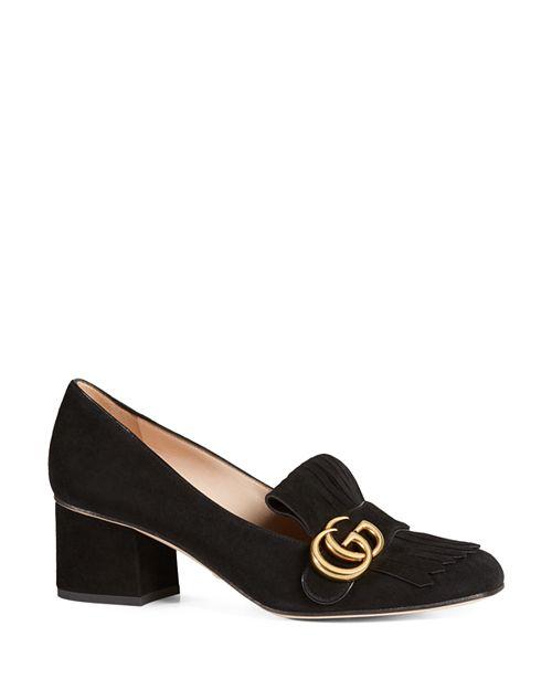 Gucci - Women's Suede Mid-Heel Pumps