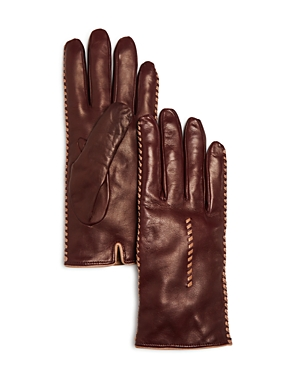 Bloomingdale's Cashmere Lined Whipstitch Leather Gloves - 100% Exclusive at Bloomingdale's