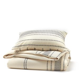 Coyuchi Organic Cotton Ivory Rippled Stripe Standard Sham