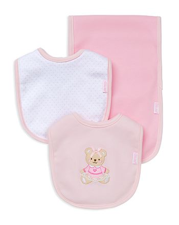 Little Me - Infant Girls' Bear Bib & Burp Cloth Set