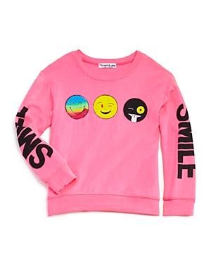 Flowers by Zoe Girls' Emoji Applique Terry Sweatshirt - Sizes S-xl