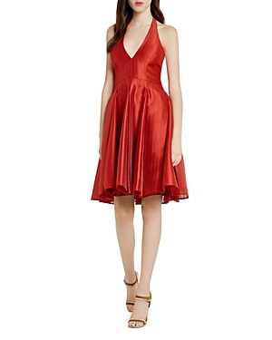 Halston Heritage Textured Jacquard Halter Dress