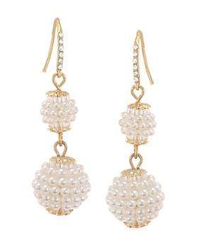 Carolee - Simulated Pearl Double Drop Earrings