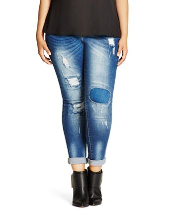 City Chic Plus - Harley Distressed Patched Skinny Jeans in Denim